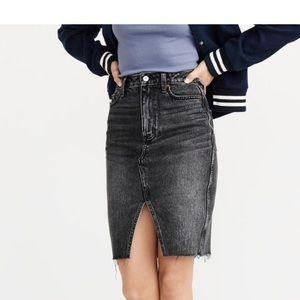 H&M washed black denim pencil skirt